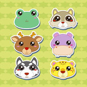 Six Cute Cartoon Animal Head Stickers — Stock Vector