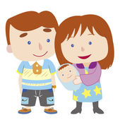 Illustration of cute family with white — Stock Vector