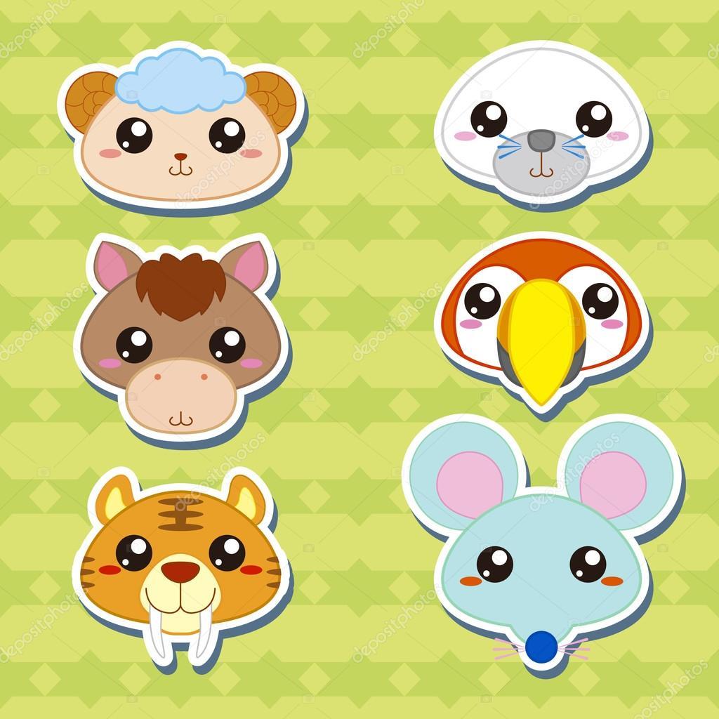 六个可爱卡通动物头贴纸