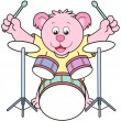 Cartoon Bear Playing Drums — Stock Vector
