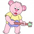 Cartoon Bear Playing a Guitar - Stock Vector