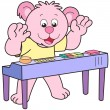 Stock Vector: Cartoon Bear Playing Electronic Organ