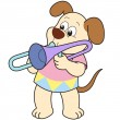 Cartoon Dog Playing a Trombone - Stock Vector