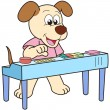Stock Vector: Cartoon Dog Playing Electronic Organ