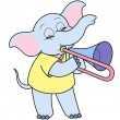 Stock Vector: Cartoon Elephant Playing Trombone