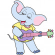 Cartoon Elephant Playing a Guitar — Stock Vector