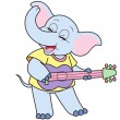 Stock Vector: Cartoon Elephant Playing a Guitar