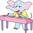 Stock Vector: Cartoon Elephant Playing Electronic Organ