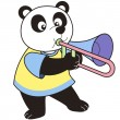 Cartoon Panda Playing a Trombone - Stock Vector