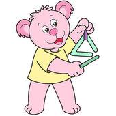 Dibujos animados oso jugando un triángulo — Vector de stock