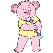 Dessin animé ours jouant un hautbois. — Vecteur