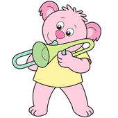 Cartoon Bear Playing a Trombone — Stock Vector