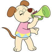 Cartoon Dog Playing a Trumpet — Stock Vector