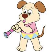 Cartoon Dog Playing a Clarinet — Stock Vector