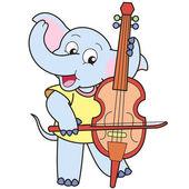 Cartoon Elephant Playing a Cello — Stock Vector