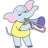 Cartoon Elephant Playing a Trombone — Stock Vector
