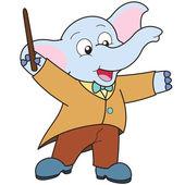 Cartoon Elephant music conductor. — Stock Vector