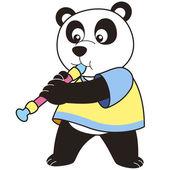 Cartoon Panda Playing an Oboe — Stock Vector