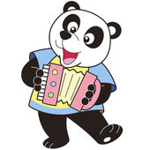 Cartoon Panda Playing an Accordion — Stock Vector