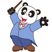 Cartoon Panda music conductor. — Stock Vector