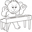 Cartoon Bear Playing Electronic Organ — Stock Vector #22779720