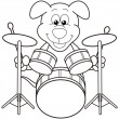 Cartoon Dog Playing Drums — Stock Vector #22779802