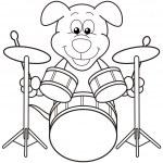 Cartoon Dog Playing Drums — Stock Vector #22779802
