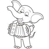Dibujos animados elefante tocando el acordeón — Vector de stock