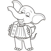 Kreslený slon hraje akordeon — Stock vektor
