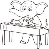 Cartoon Elephant Playing an Electronic Organ — Stock Vector