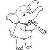 Cartone animato elefante giocando un clarinetto — Vettoriale Stock