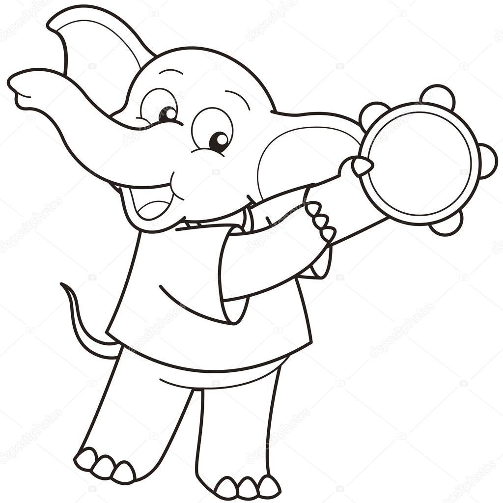 Elephant Cartoon Outline Cartoon Elephant Playing a
