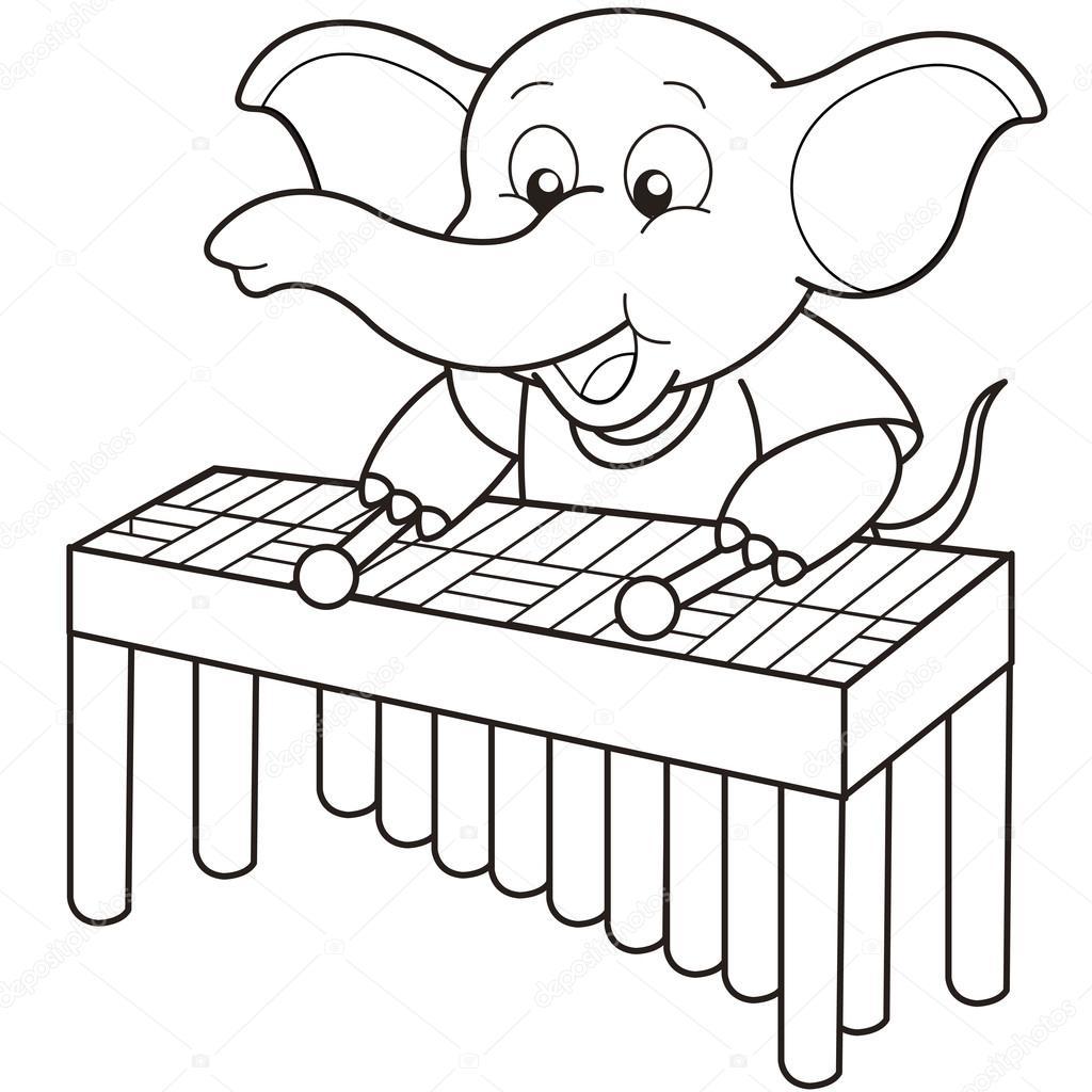 Cartone animato elefante giocando un vibrafono