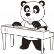 Stock Vector: Cartoon PandPlaying Electronic Organ