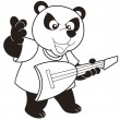 Cartoon Panda Playing an Electric Guitar — Imagen vectorial