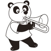 Cartoon Panda Playing a Trombone — Stock Vector
