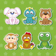 Royalty-Free Stock Vector Image: Six Cute Cartoon Animal Stickers