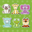 Stock Vector: Six Cute Cartoon Animal Stickers