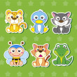 Six Cute Cartoon Animal Stickers — Stock Vector #22853738