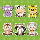 Zes cute cartoon dierlijke stickers — Stockvector