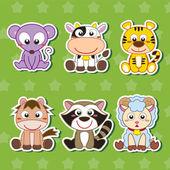 šest roztomilé kreslené zvířata samolepky — Stock vektor