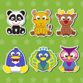 Six Cute Cartoon Animal Stickers — Stock Vector