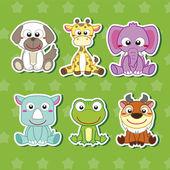 Cinque adesivi animale simpatico cartone animato — Vettoriale Stock