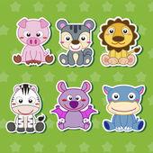 Six Cute Cartoon Animal Stickers — Stock Vector