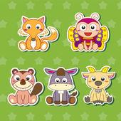Five Cute Cartoon Animal Stickers — Stock Vector