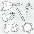 Vector Doodle Musical Instruments Collection — Stock Vector