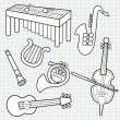 Stock Vector: Vector Doodle Musical Instruments Collection