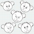 Vector Doodle Cute Bear Face Collection — Stock Vector