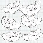 Vector Doodle Cute Elephant Face Collection — Stock Vector #22861764