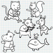 Vector Doodle Cute Animal Collection — Stock Vector